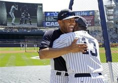 New York Yankees relief pitcher Mariano Rivera, left, embraces Charlie Hayes before the Old Timers Day baseball game at Yankee Stadium, Sunday, June in New York. Yankees Fan, New York Yankees, Charlie Hayes, Old Timers Day, Yankee Stadium, Baseball Games, Cardinals, Sports News, Mlb