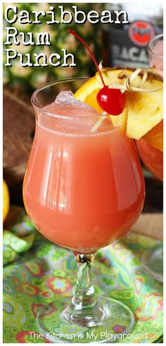 Rum Punch ~ Enjoy the fabulous tropical flavors of rum punch at home - no plane or cruise tickets needed. It's the perfect cocktail for sipping poolside, or in a shaded porch rocking chair on a hot day. Holiday Drinks, Summer Drinks, Fun Drinks, Mixed Drinks, Drinks With Rum, Cold Drinks, Rum Punch Cocktail, Cocktail Drinks, Rum Punch Drink