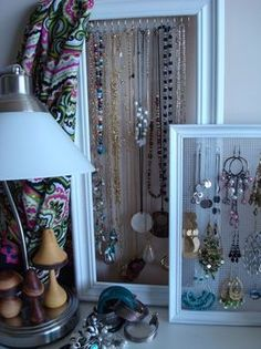 Awesome jewlery holders... am going to have to make one for earrings and one for necklaces