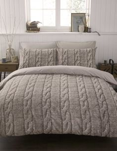 #bedding Cable Knit Duvet Cover Set Double