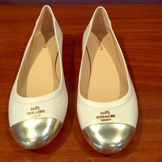 Coach Loafers Brand new, never worn outside house. The 7 is a bit small on me but I was hoping they would work. Cream colored with gold toe. Absolutely perfect summer shoe. I do not have the box. Coach Shoes Flats & Loafers