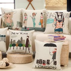 London Paris New York Street Fashion Retro Pop Art Fabric Throw Cushion Covers for Vintage Home Decor SOHO Office Comfort Store Front Display 45x45cm  ❤ Resellers Welcome ❤ Dropshipping Available ❤ Great as Gifts.  View more at spreesy.com/cookies