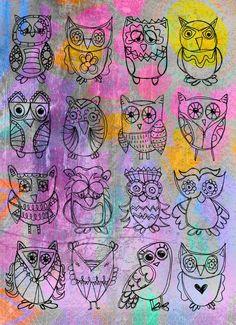 Doodle Inspiration  Sixteen Owls @ PaperPetite.etsy.com