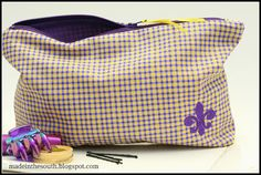 Make up Bag Purple & Yellow with   Purple Fleur de Lis  perfect for a tiger fan.