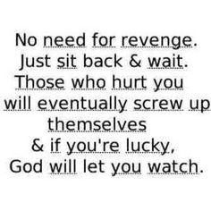 """No need for revenge. Just sit back & wait. Those who hurt you will eventually screw up themselves & if you're lucky, God will let you watch."""