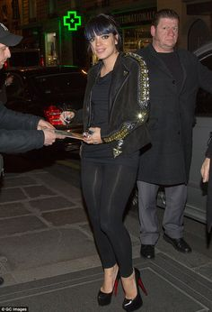 Striking: Lily Allen stepped out in Paris wearing a Givenchy jacket she found while doing ...