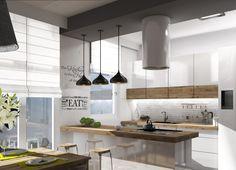 Surowy charakter eklektycznej kuchni przełamuje obecność naturalnego drewna. Oświetlenie oraz pojedyncze, ale wyraziste...