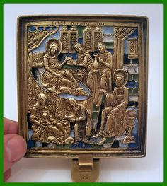 Russia orthodox bronze icon The Nativity of The Virgin.Enameled.
