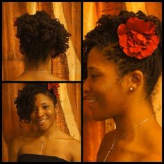 I like this updo with flower, it adds color to your style.