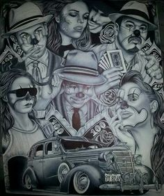 Pin by jocilynn falco on aztec/mexican/chicano чикано, татуи Chicano Art Tattoos, Chicano Drawings, Gangster Tattoos, Prison Drawings, Cholo Art, Clown Tattoo, Prison Art, Lowrider Art, Brown Pride