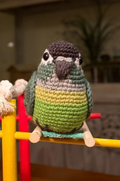 crochet amigurumi Green cheek conure bird. Love the expression on this guy :)