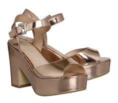 Office Dauntless Sandal Rose Gold Mirror - Mid Heels