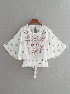 OMCHION Blusas Feminina 2017 Flare Sleeve Floral Embroidery Blouse Back Split Halter Sexy Women Shirts Summer Tassel Tops Teen Fashion Outfits, Kids Outfits, Fashion Dresses, Fashion Women, Kurta Designs Women, Blouse Designs, Baby Frocks Designs, Kids Frocks, Designs For Dresses