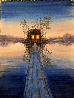 Warm, inviting light is the perfect antidote for the icy winter nights! Watercolour painting by ArtTutor member elsiepetrie. ArtTutor Gallery: Get Inspired By The Artwork of Others