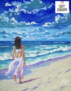 Beginners learn to paint full acrylic art lesson of a girl in white walking on the beach. This romantic painting will be explained step by step so you Can paint her at home.