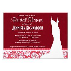 red damask pattern cute custom invitation