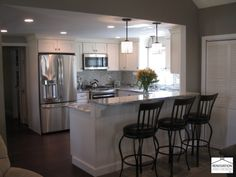 "Open Galley Kitchen With Island kitchen from property brothers episode ""heather & franklin"