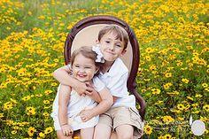 Big brother little sister flower field classic child portrait Captured Memories by Esta Child Photography Lake City Fl | CHILDREN