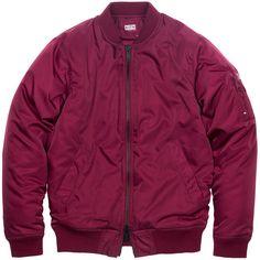 KITH Classics Astor MA-1 Jacket Burgundy (305 CAD) ❤ liked on Polyvore featuring outerwear, jackets, coats & jackets, tops, bomber jacket, flight jacket, zip pocket jacket, patch pocket jacket and heavy jacket