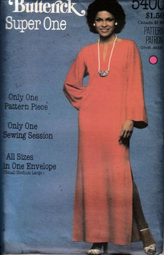 BUTTERICK SEWING PATTERN #5400 MISSES CAFTAN ~ ONE PATTERN PIECE SMALL-LARGE