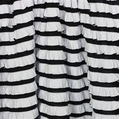 Black and white striped ruffle fabric - shower curtain, windows, bedskirt, etc.