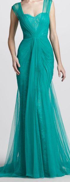 Lovely aqua gown by Monique L'huillier.