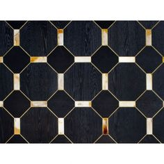 Black Painted Oak Wood Flooring with   Gilded Profile and Horn Tiles