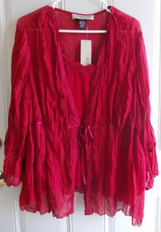 Cranberry Delight! Women's Size 22W 24W Red Shirt & Cami Set by Harve Bernard Woman New with Tags Offered by #HopesCloset on Bonanza