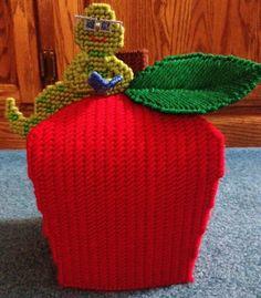 Apple with Caterpillar Plastic Canvas Tissue