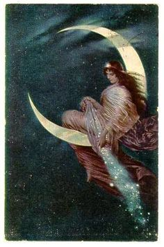 The Moon Fairy (Die Mondfee) by Hermann Kaulbach, Whimsical Fine Art Painting Romantic Fantasy Original Rare Imperial Russian Postcard Éphémères Vintage, Gypsy Moon, Paper Moon, Moon Magic, Mystique, Beautiful Moon, Moon Goddess, Moon Art, Stars And Moon