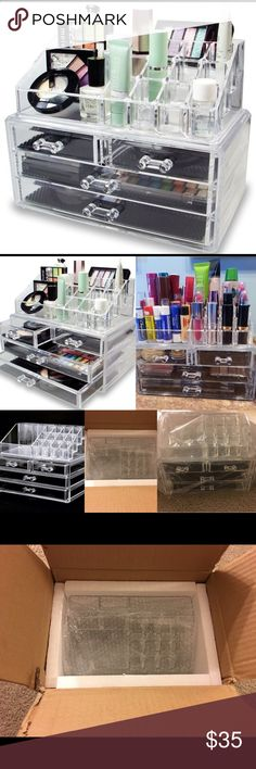 Large Jewelry Box 5 Drawers Acrylic Cosmetic Organizer Glossy Makeup