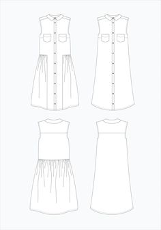 GARMENT DETAILS Alder is a loosely fitted sleeveless shirt dress with two options. View A falls into an A-Line at the waist and features a curved hem, bust dart