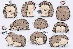 Premium Vector Clipart Kawaii Hedgehogs by LookLookPrettyPaper