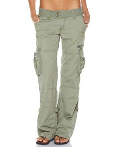 Features:Womens Cargo PantsColour: ArmyMade from 100% cotton canvas Relaxed leg…