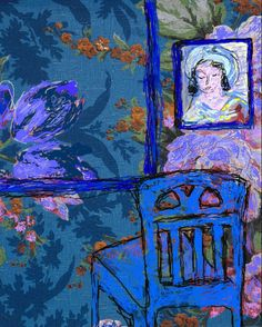 'The Blue Room' Jeanne Curran; artwork patterned after Matisse
