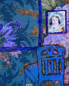 'The Blue Room' Jeanne Curran; artwork patterned after Matisse