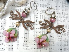 reserved....FLORAL assemblage earrings lily of the valley shabby chic enamel flower unusual