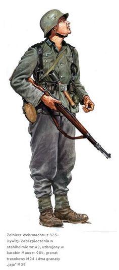 WEHRMACHT - Soldato della 325. Infanterie-Division armato con carabina Mauser 98 K. La divisione Fu attiva per pochi mesi, dal gennaio al maggio 1945, nel settore del nord della Germania e della Danimarca.