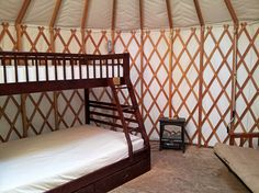 Winter-proofed yurts with beds, heat, light, windows, and a skylight for viewing falling snowflakes or stars.  SkiMag.com whatever a yurt is it sounds really cool and i need one for the nxt blizzard!