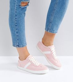 ASOS DELPHINE Wide Fit Stripe Lace Up Sneakers - Beige