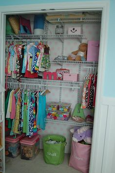 Shared baby/kid closet - Johannes just finished tonight.  Made lots more space!