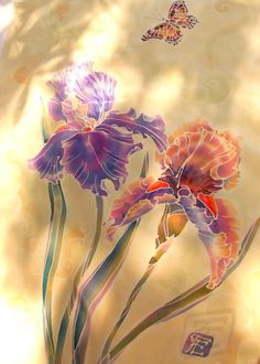 "Hand painted silk scarf. Batik scarf. Нoney gold scarf ""Time for Irises"" Шарф Время Ирисов. Батик. Шелк. Авторская роспись."