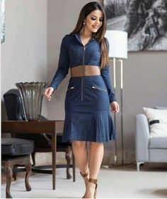 Vestido jean in Modest Outfits, Chic Outfits, Casual Dresses, Fashion Outfits, Jeans Dress, Denim Skirt, Dress Skirt, Mexican Fashion, Fashion Design Sketches