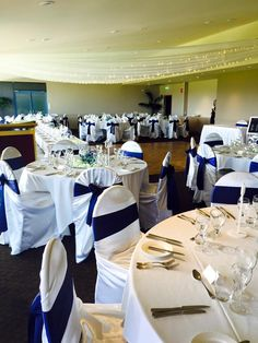 Fairy Light Ceiling Draping Navy Satin Sashes