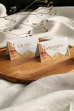 Desert Wedding Place Cards for a western themed wedding. Perfect Table Decoration for a southwestern wedding in Arizona. Just duplicate the template and fill in the names.