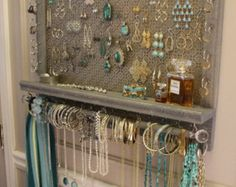 You can choose the stain mosaic mesh colonial trim series wall mounted jewelry . - You can choose the stain mosaic mesh colonial trim series wall mounted jewelry …, - Wall Mount Jewelry Organizer, Jewelry Wall, Diy Jewelry Holder, Jewelry Hanger, Jewelry Armoire, Jewelry Box, Jewelry Tree, Silver Jewelry, Diy Earrings Rack