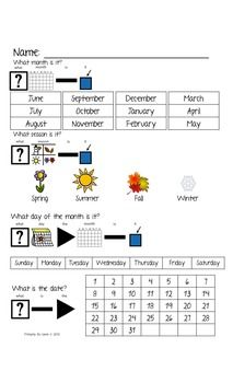 Calendar Journal for Morning Work for Visual Learners