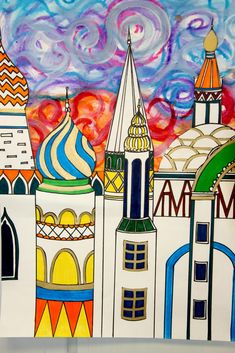 Elem. Cityscape.  Research places in the world (Paris, London, Dubai, China, etc.)  Cut our drawn scape and glue on painted sky background