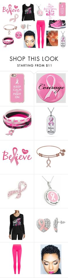 """""""Fight Like A Girl (Breast Cancer Awareness)"""" by lunaofthemoon ❤ liked on Polyvore featuring Casetify, Ashley Stewart, Napier, Made For Life, adidas and NIKE"""
