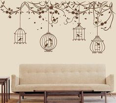 Nature wall decal birds Wall Decal branch Wall Sticker Bird Cage Size : 110 W x 51 H (approx.), x The bird cages are separated so you Wall Stickers Birds, Bird Wall Decals, Diy Wall Painting, Diy Wall Art, Wall Stickers Australia, Wall Drawing, Tree Wall Art, Diy Décoration, Wall Design
